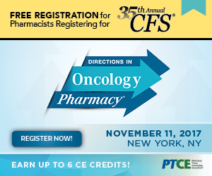 Free Registration for Pharmicists registering for CFS™. Directions in Oncology Pharmacy.