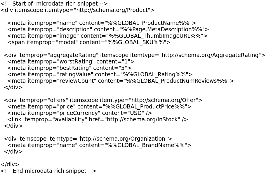 rich snippet code