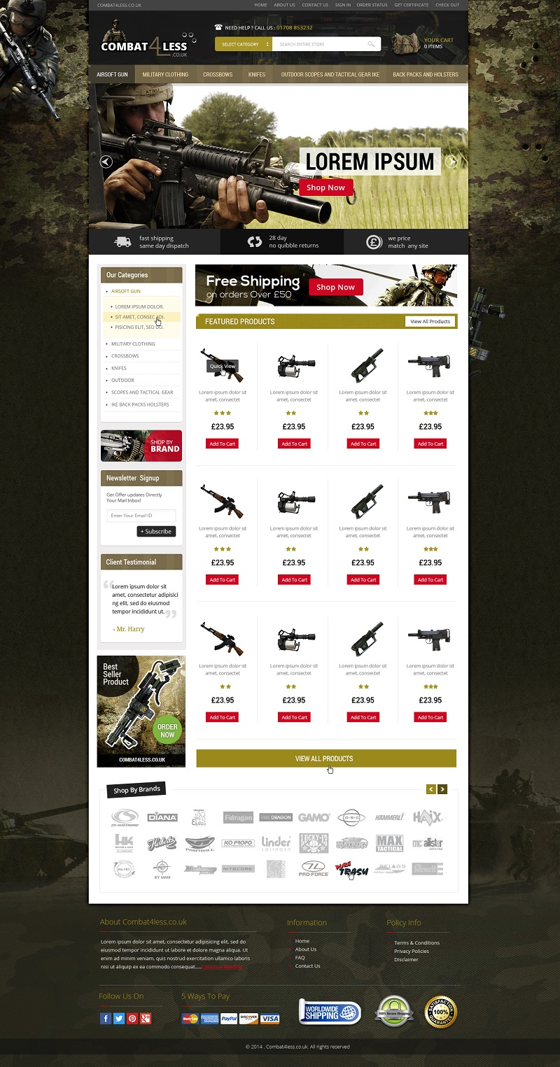 Gun Part eCommerce website design