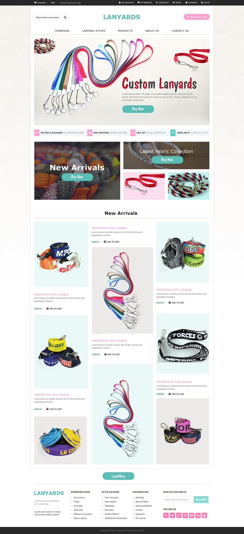 Ecommerce creative store design for Belts