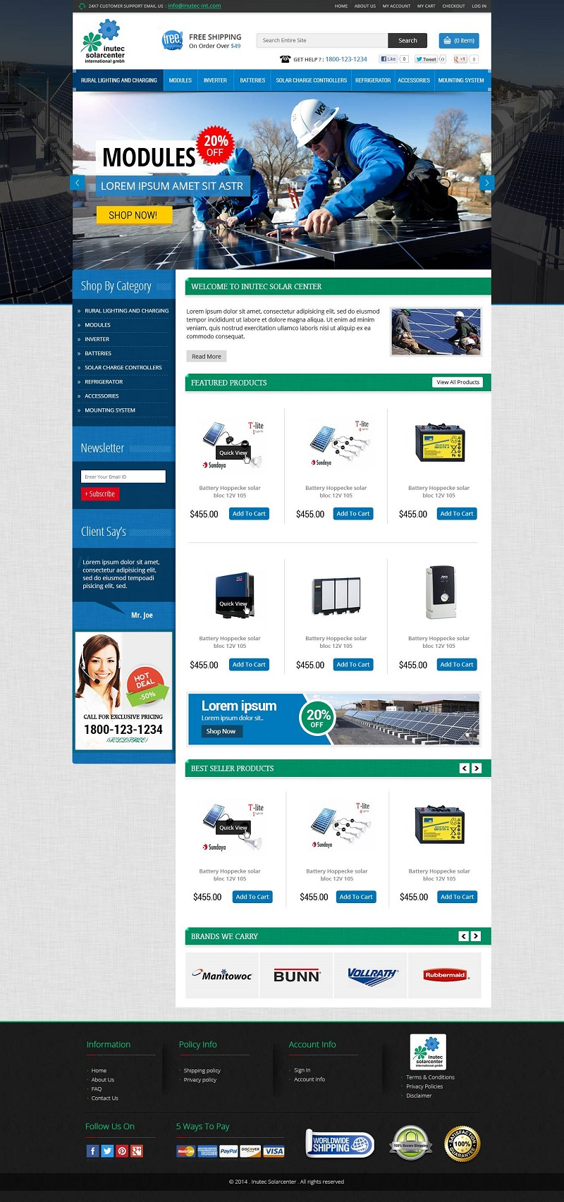 Solar parts eCommerce website design