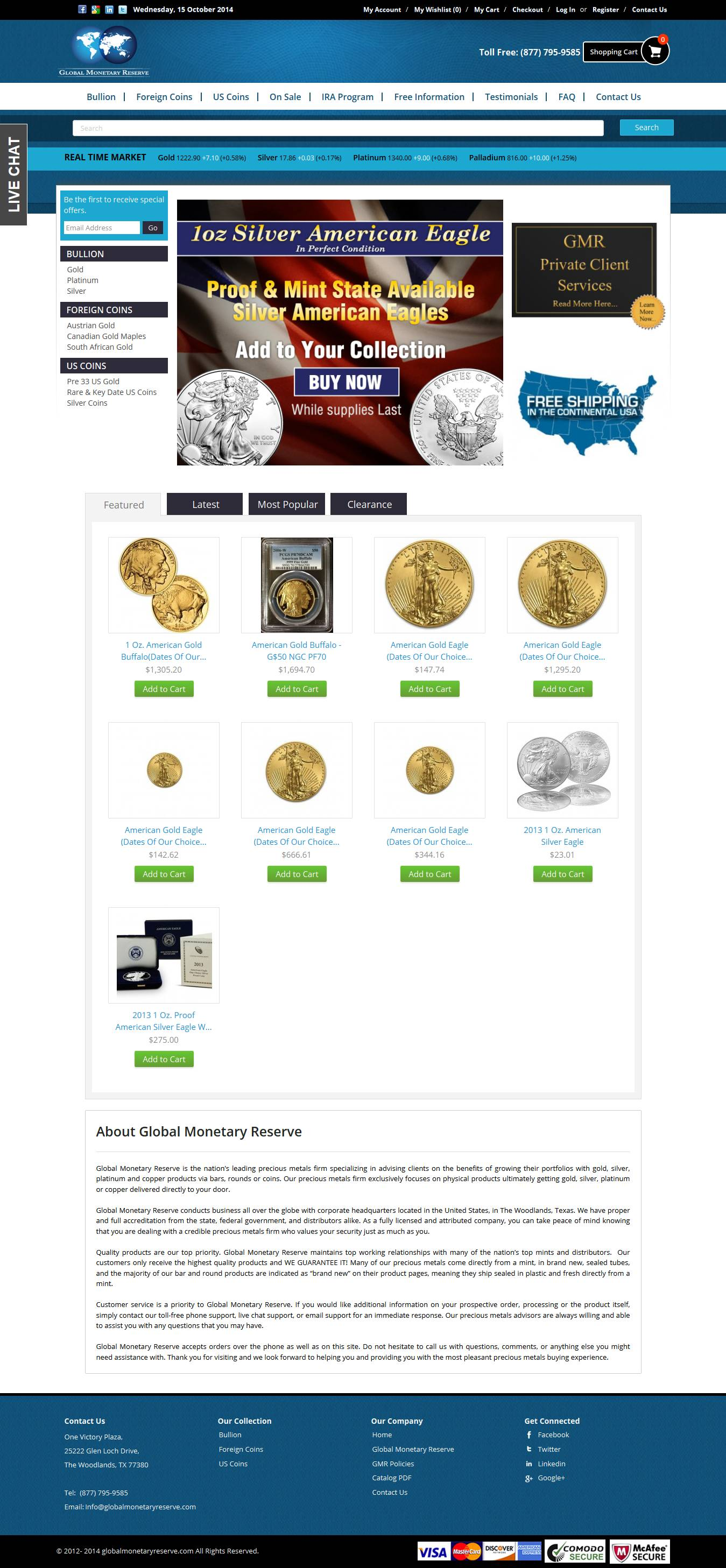 Gold Coin eCommerce Magento Store