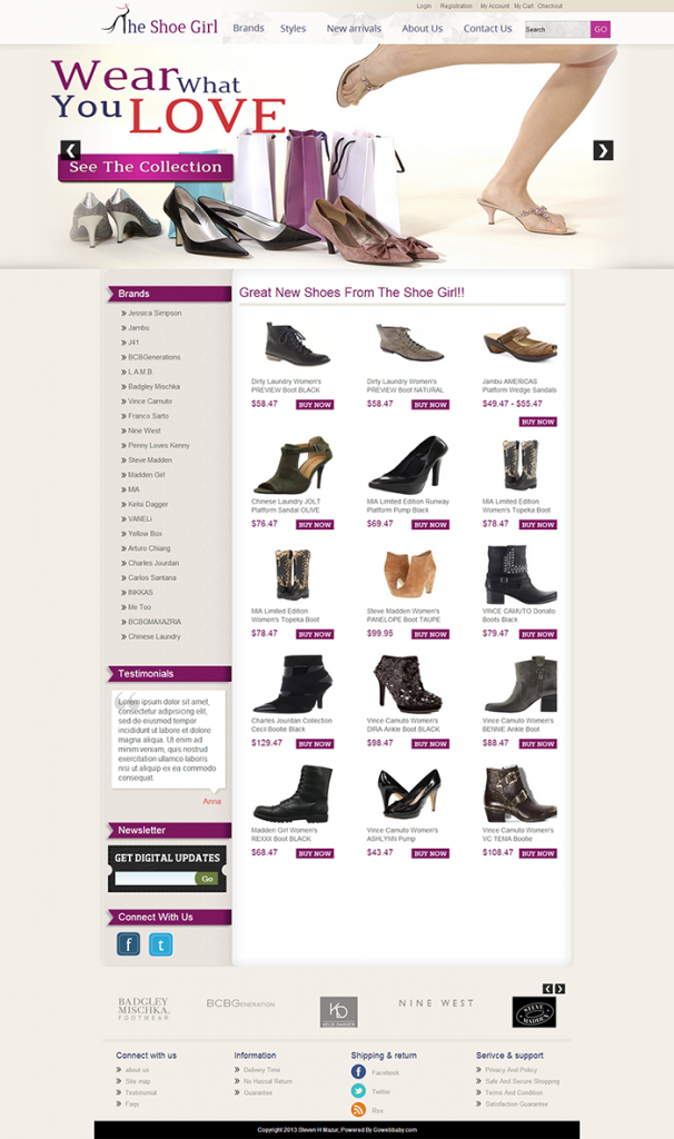 The Shoe Girl amazon webstore template