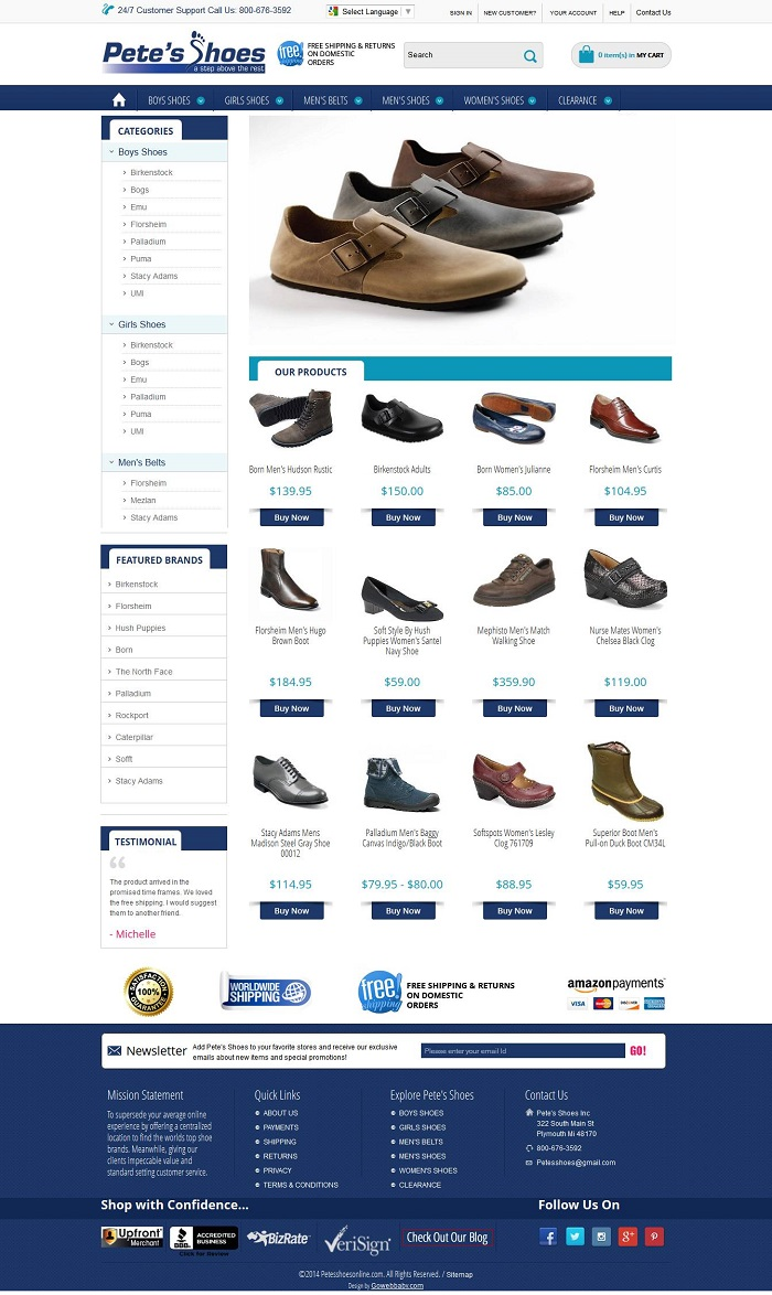 Online Shoes Store on Amazon webstore