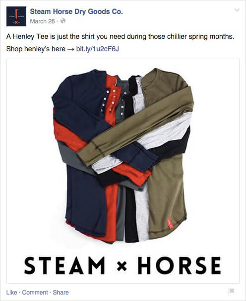 Motivational Ecommerce Examples- Simple But Effective Product CTA By Steam Horse On Facebook