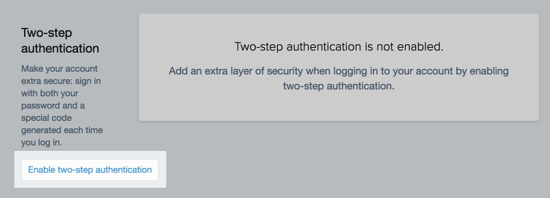 Enable Two-Step Authentication for Your Store