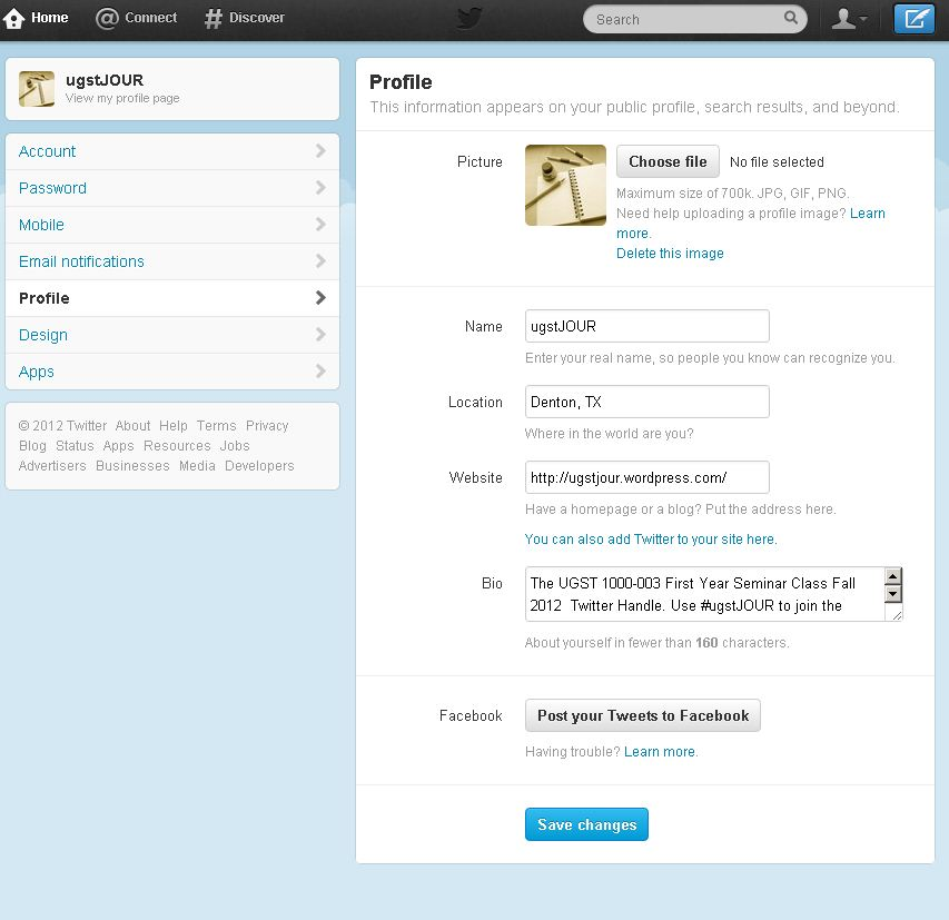 Twitter account setup