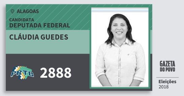 Santinho Cláudia Guedes 2888 (PRTB) Deputado Federal | Alagoas | Eleições 2018
