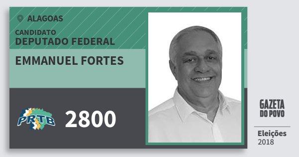 Santinho Emmanuel Fortes 2800 (PRTB) Deputado Federal | Alagoas | Eleições 2018