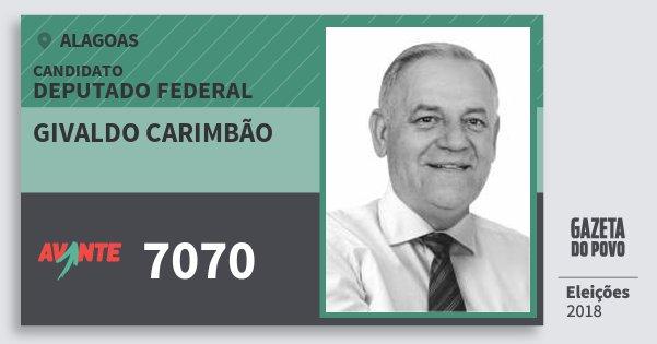 Santinho Givaldo Carimbão 7070 (AVANTE) Deputado Federal   Alagoas   Eleições 2018