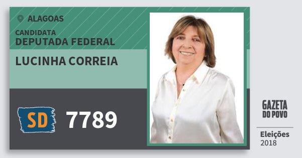 Santinho Lucinha Correia 7789 (SOLIDARIEDADE) Deputado Federal | Alagoas | Eleições 2018