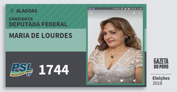 Santinho Maria de Lourdes 1744 (PSL) Deputado Federal | Alagoas | Eleições 2018