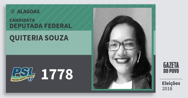 Santinho Quiteria Souza 1778 (PSL) Deputado Federal | Alagoas | Eleições 2018