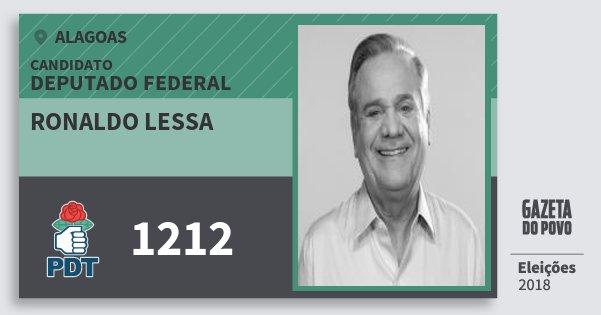 Santinho Ronaldo Lessa 1212 (PDT) Deputado Federal | Alagoas | Eleições 2018