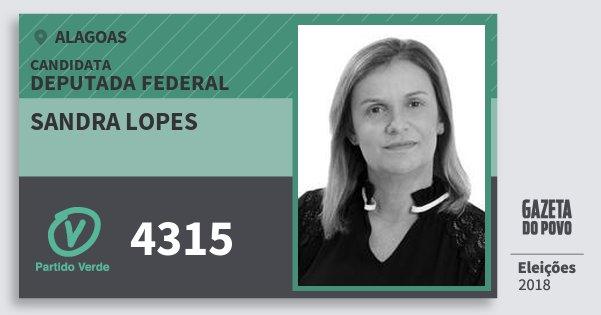 Santinho Sandra Lopes 4315 (PV) Deputado Federal | Alagoas | Eleições 2018