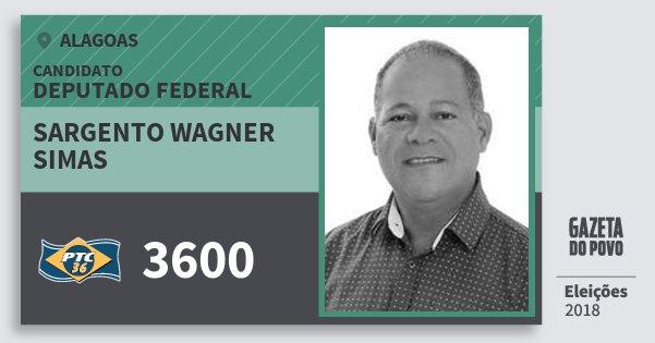 Santinho Sargento Wagner  Simas 3600 (PTC) Deputado Federal | Alagoas | Eleições 2018