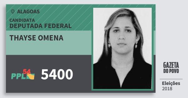 Santinho Thayse Omena 5400 (PPL) Deputado Federal | Alagoas | Eleições 2018
