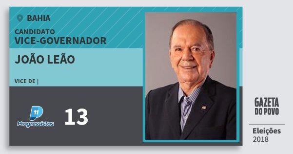 Santinho João Leão 13 (PP) Vice-governador   Bahia   Eleições 2018