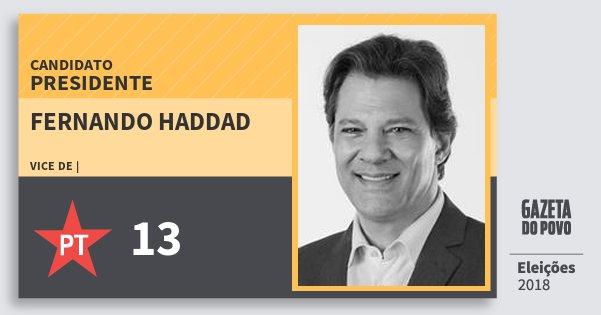 Santinho Fernando Haddad 13 (PT) Presidente | Brasil | Eleições 2018