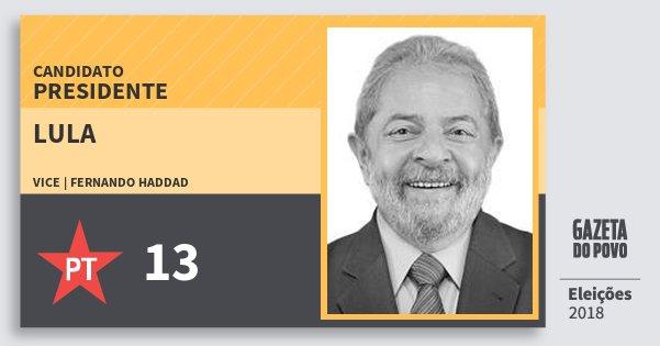 Santinho Lula 13 (PT) Presidente | Brasil | Eleições 2018