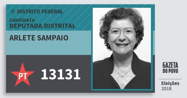 Santinho Arlete Sampaio 13131 (PT) Deputado Distrital | Distrito Federal | Eleições 2018