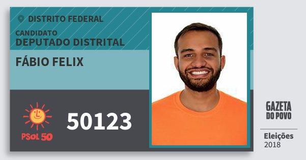 Santinho Fábio Felix 50123 (PSOL) Deputado Distrital | Distrito Federal | Eleições 2018