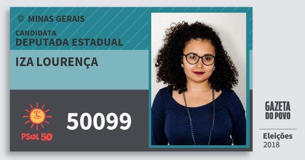 Santinho Iza Lourença 50099 (PSOL) Deputado Estadual   Minas Gerais    Eleições 2018