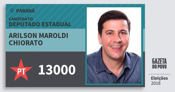 Santinho Arilson Maroldi Chiorato 13000 (PT) Deputado Estadual | Paraná | Eleições 2018