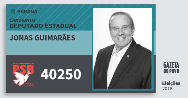 Santinho Jonas Guimarães 40250 (PSB) Deputado Estadual   Paraná   Eleições 2018
