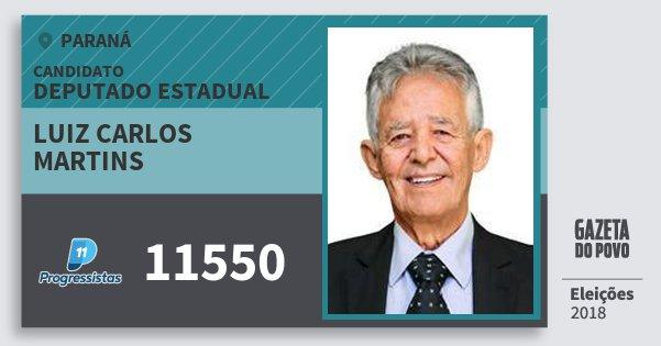 Santinho Luiz Carlos Martins 11550 (PP) Deputado Estadual | Paraná | Eleições 2018