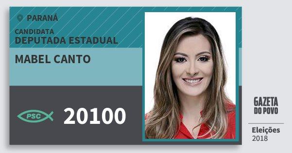 Santinho Mabel Canto 20100 (PSC) Deputado Estadual | Paraná | Eleições 2018
