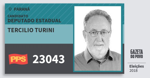 Santinho Tercilio Turini 23043 (PPS) Deputado Estadual | Paraná | Eleições 2018