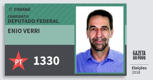 Santinho Enio Verri 1330 (PT) Deputado Federal   Paraná   Eleições 2018