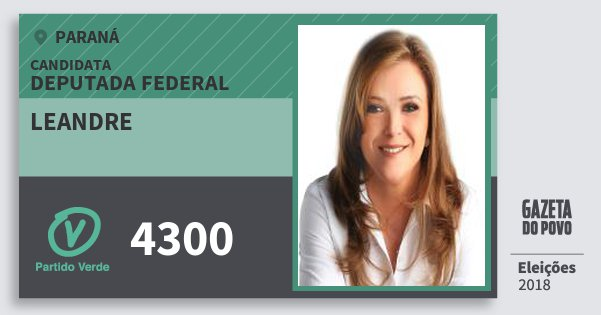 Santinho Leandre 4300 (PV) Deputado Federal | Paraná | Eleições 2018