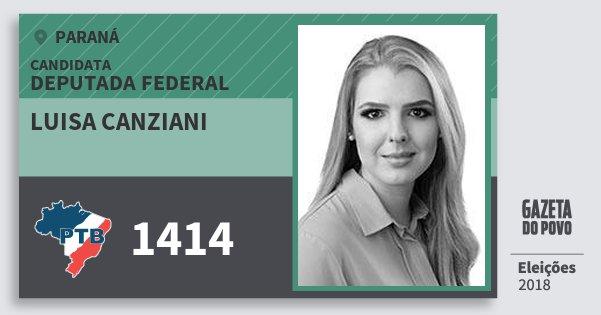 Santinho Luisa Canziani 1414 (PTB) Deputado Federal | Paraná | Eleições 2018