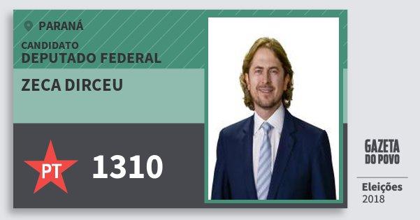 Santinho Zeca Dirceu 1310 (PT) Deputado Federal   Paraná   Eleições 2018