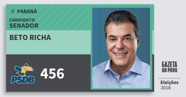 Santinho Beto Richa 456 (PSDB) Senador   Paraná   Eleições 2018