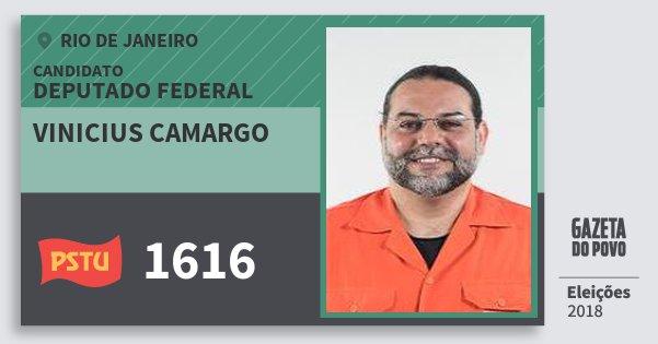 Santinho Vinicius Camargo 1616 (PSTU) Deputado Federal | Rio de Janeiro | Eleições 2018