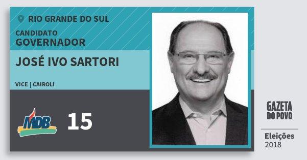 Santinho José Ivo Sartori 15 (MDB) Governador | Rio Grande do Sul | Eleições 2018