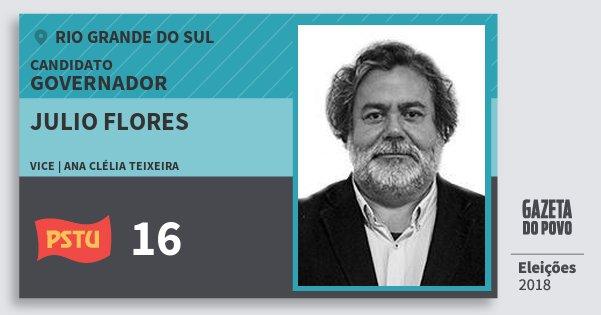 Santinho Julio Flores 16 (PSTU) Governador   Rio Grande do Sul   Eleições 2018