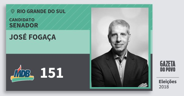 Santinho José Fogaça 151 (MDB) Senador | Rio Grande do Sul | Eleições 2018
