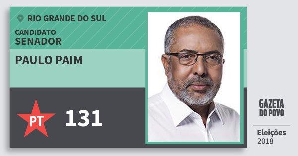 Santinho Paulo Paim 131 (PT) Senador   Rio Grande do Sul   Eleições 2018