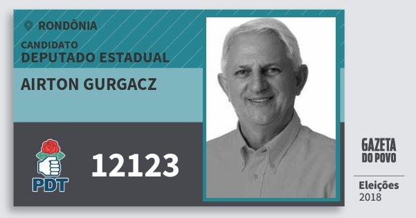 Santinho Airton Gurgacz 12123 (PDT) Deputado Estadual | Rondônia | Eleições 2018