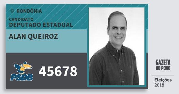 Santinho Alan Queiroz 45678 (PSDB) Deputado Estadual | Rondônia | Eleições 2018