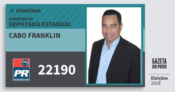 Santinho Cabo Franklin 22190 (PR) Deputado Estadual | Rondônia | Eleições 2018