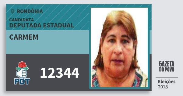 Santinho Carmem 12344 (PDT) Deputado Estadual | Rondônia | Eleições 2018