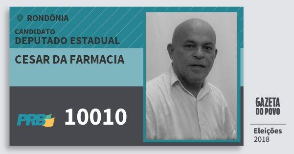 Santinho Cesar da Farmacia 10010 (PRB) Deputado Estadual | Rondônia | Eleições 2018