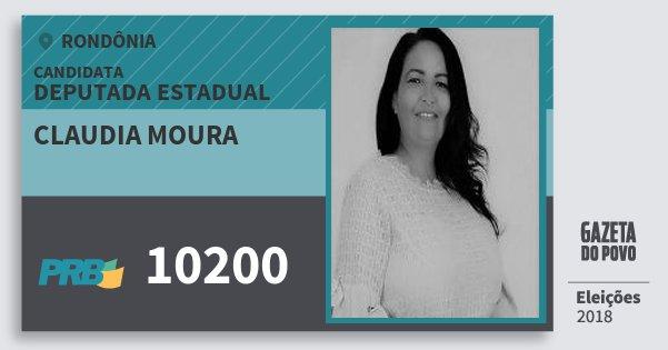 Santinho Claudia Moura 10200 (PRB) Deputado Estadual   Rondônia   Eleições 2018