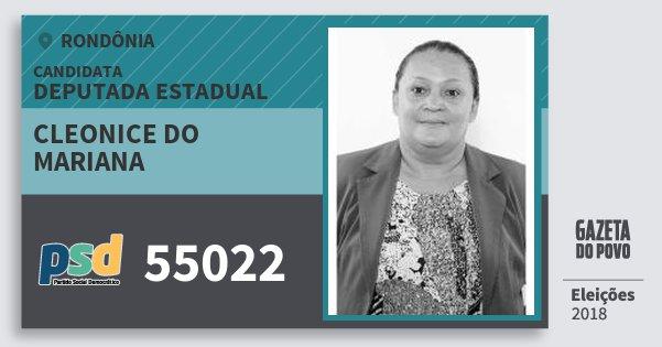 Santinho Cleonice do Mariana 55022 (PSD) Deputado Estadual | Rondônia | Eleições 2018
