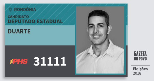 Santinho Duarte 31111 (PHS) Deputado Estadual | Rondônia | Eleições 2018